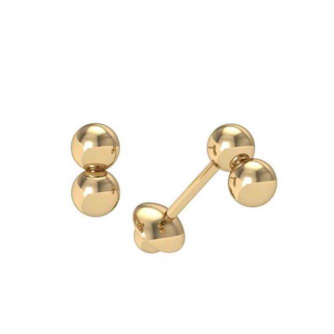 Brinco-Bola-Branco-3.0-Milimetros-de-Ouro-Duplo-18kt-750
